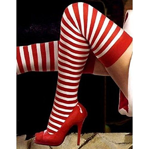 Red & White Stripe Thigh High by Music Legs