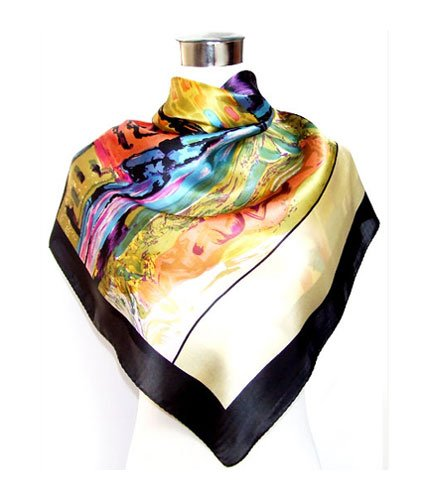 Saint Oil-Painted Landscape Print with Black Band - Silk Square Scarf 35 x 35