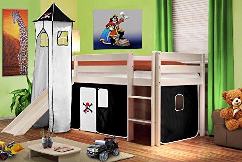 Hochbett Kinderbett Spielbett mit Turm und Rutsche Massiv Kiefer Weiß - Pirat Schwarz/Weiß - SHB/03/1032