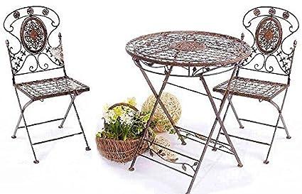 Tisch mit 2 Stuhle Kolonialstil Schmiedeeisen Avis
