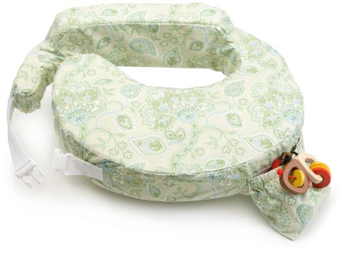 My Brest Friend Inflatable Travel Nursing Pillow in Green Paisley - 1