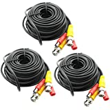 3-Pack 20M 65ft. Black Pre-made All-in-one BNC Video And Power Cable Wire With Connector DC 2.1mm For CCTV Surveillance...