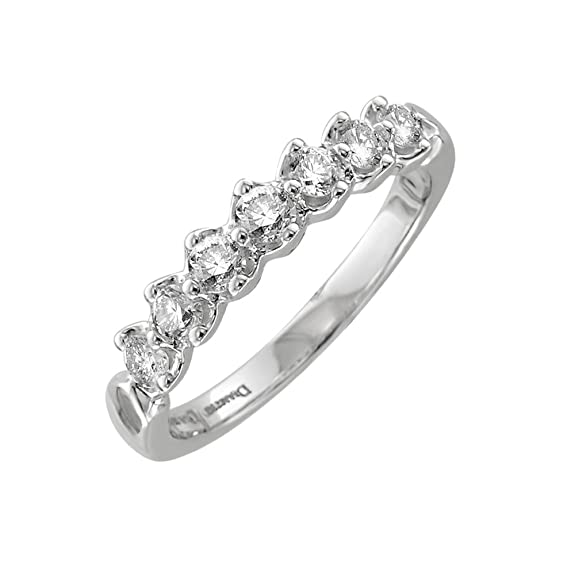 Diamond Delight Women's 10K 7 Stone Prong Set Wedding Ring (SI1-SI2, 1/2 Carat)
