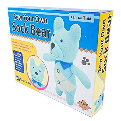 SadoCrafts Sew Your Own Sock Doll Sewing Kit - Sew Stuff Models for Bear, Cow, Dog, or Owl
