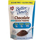 Better Bowls Chocolate Sugar-free (Splenda) Instant Pudding, Heart Healthy, Good Source of Fiber, Protein & Calcium, 2 Ww Points, (2.1 Oz Pouches) Pack of 6 ~ Splenda