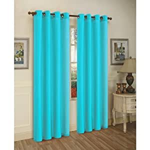 solid aqua blue faux silk grommet curtain panel 58 by 84