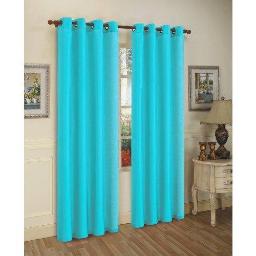 2 Piece Solid Aqua Blue Faux Silk Grommet Curtain Panel 58 by 84 Inch thetford жидкость для биотуалета aqua kem blue