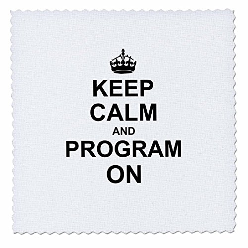 3dRose qs_157757_3 Keep Calm and Program on Carry on Programming Coding Programmer Job Gifts Fun Funny Humor Quilt Square, 8 by 8-Inch