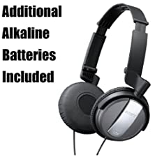 buy Sony Professional Lightweight Noise Canceling Studio Monitor Headphones With 30Mm Swivel Earcups, Over The Head Open-Air Dynamic Closed Dome Design - Black - Eliminates 87.2% Of Surrounding Ambient Noise - Travel Case, Airplane Adapter & Additional Alkali