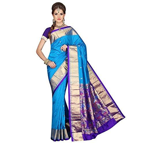 Mahila Silks BLUE Traditional Paithani pure silk Sarees