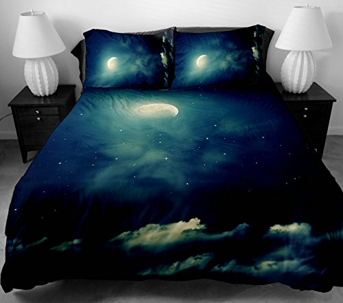 Anlye Unique Chic Bedding Set 2 Sides Printing The Blue Nebula Bed Covers With 2 Pillow Cases For Girls Home Decorating Ideas Twin front-806256
