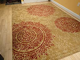 Contemporary Rugs Large 8x11 Modern Rugs for Living Room Red Beige Cream Beige Rugs for Cream Sofa Area Rugs 8x10 Clearance Under 100 Floral Circle Shapes Carpet