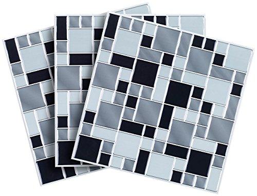 infactory selbstklebende 3d mosaik fliesenaufkleber modern 26 x 26 cm 3er set. Black Bedroom Furniture Sets. Home Design Ideas