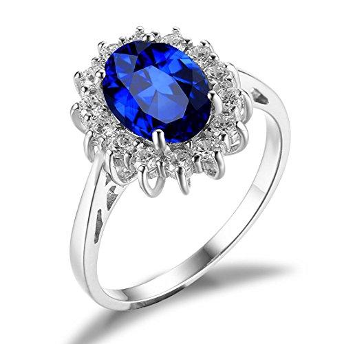 Jewelrypalace 2.8CT Princesse Diana Bijoux Bague en Saphir et Ziron Cubique de Synthèse en Argent 925 pour Femme