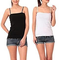 Lady Heart Women's Black & White Cotton Spaghetti Camisole Free Size - S / M / L . Pack Combo of 2