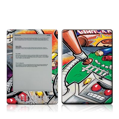 Robot Beatdown Design Protective Decal Skin Sticker For Amazon Kindle Dx 9.7 Inch E-Book Reader front-578975