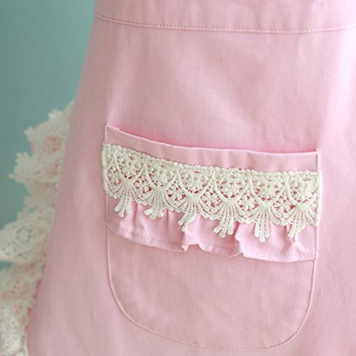 Lovely Lace Work Aprons Home Shop Kitchen Cooking Tools Gifts for Women Aprons,pink 3