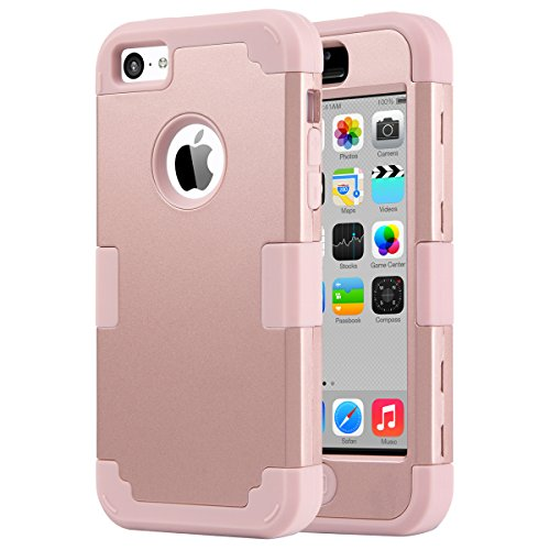 iPhone 5C Case,ULAK Knox Armor 3in1 Hard PC+Soft Silicone Hybrid Dust Scratch Shockproof Anti-slip Defensive Cover for iPhone 5C, Rose Gold (Protective Pink Iphone 5c Case compare prices)