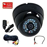 "VideoSecu Outdoor Day Night Infrared Security Camera 600TVL Built-in 1/3"" Sony CCD 20 IR LEDs Vandal Proof CCTV Home Surveillance DVR System with Audio Microphone, Extension Cable, Power Supply 1V3"