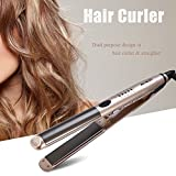 Hair Curler, 2 in 1 Hair Curler & Straightener Flat Iron LED Temperature Display Hair Styling Tool(Brown)