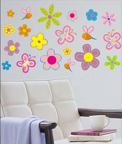 Wandtattoo Blumen Kinderzimmer :  Wandtattoo Wandsticker Insekt & Blumen Kind Kinderzimmer WAG030