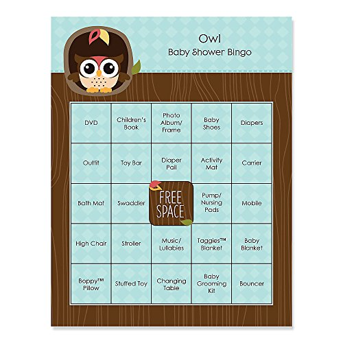 Big Dot Of Happiness - Owl - Look Whooo'S Having A Baby - Baby Shower Bingo Cards - 16 Count
