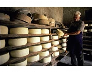 Hill farmer with cheeses