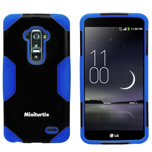 Miniturtle, 2 In 1 Hybrid Curved Shell Casing Hard Phone Case Cover, Stylus Pen, And Clear Lcd Screen Protector Film For Android Smartphone Lg G Flex /T Mobile D959, /At&T D950, /Sprint Ls995 (Black / Blue)
