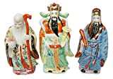Three Chinese Gods - God of Longevity (Long Life), Prosperity, & Fortune - Vintage Porcelain