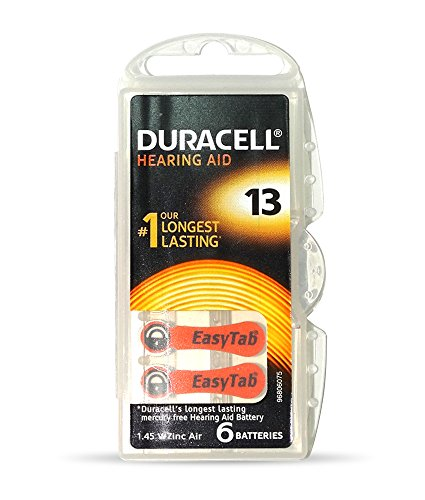 Duracell Easytab Hearing Aid Batteries Size 13, Pack of 6, 1.45 V  available at amazon for Rs.289
