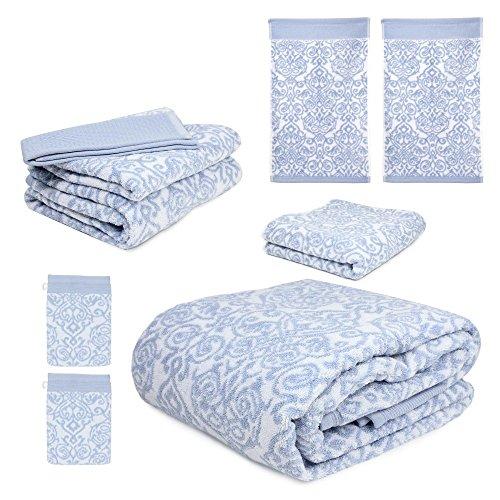 parure de bain 7 teilig bolero floral blau 520 g m2. Black Bedroom Furniture Sets. Home Design Ideas