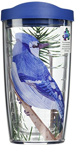 Tervis Blue Jay Wrap Tumbler with Blue Lid, 16-Ounce