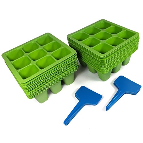 Toil in the Soil 9-Cell Seed Planter - Germination Trays with Drain Holes, Pack of 40 with Plant Labels, Efficiently Transfers Heat, Promotes Root Growth for Transplanting Ease (Extra Large Greenhouse compare prices)