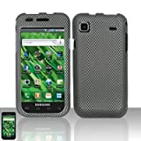 Black Carbon Fiber Snap on Design Case Hard Case Skin Cover Faceplate for Samsung Vibrant T959 + Screen Protector Film
