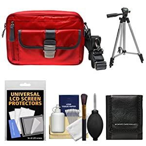 Nikon 1 Series Deluxe Digital Camera Case (Red) with Tripod + Accessory Kit for 1 S1, S2, J1, J2, J3, J4, V1, V2, V3, AW1