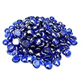 Onlyfire Reflective Fire Glass Drops for Natural or Propane Fire Pit, Fireplace, or Gas Log Sets, 10-Pound, 1/2-Inch, Royal Cobalt Blue Luster