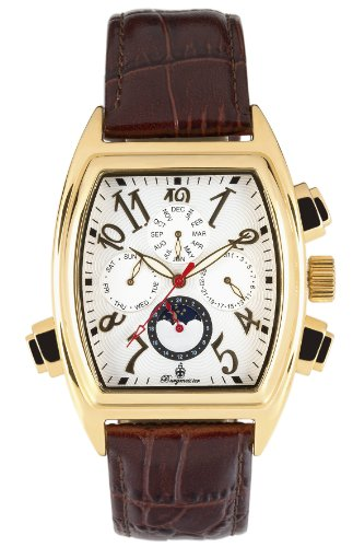 Burgmeister Sao Paulo Bm131-285 Gents Automatic Analogue Wristwatch Gold Plated Brown Leather Strap White Dial Date Day Month  Day Night
