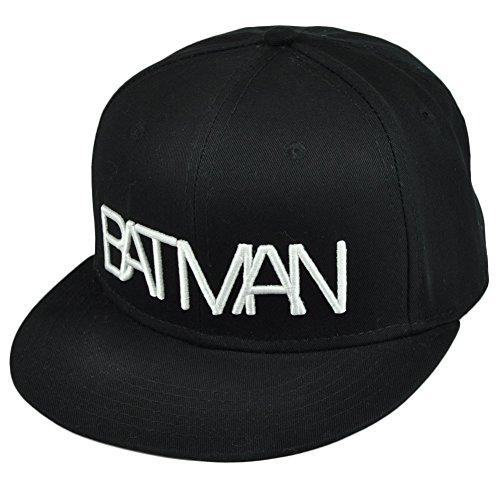 DC Comics Batman Dark Knight Wordmark Overlap Flat Bill Snapback Hat Cap Black