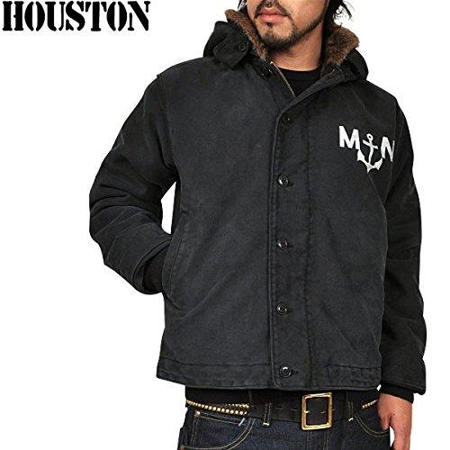 HOUSTON ヒューストン フランス海軍デッキジャケット USED加工 ブラック 40 [ウェア&シューズ]