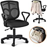 LYNCOL Swivel Computer Office Desk Chair With Arms Color Fabric Seating Mesh Back + Stand bars on the back (Black)