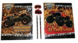 Hot Wheels Monster Jam El Toro Loco and Maximum Destruction 6 Piece Pocket Folder Set with Matching Pencils and Erasers
