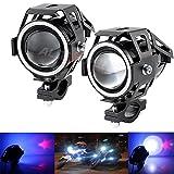 #9: AllExtreme U7 LED Fog Light Bike Driving DRL Fog Light Spotlight, High/Low Beam, Flashing-With Blue Angel Eyes Light Ring (Pack of 2) U 7 Led Fog Light Blue Angel Eye