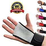 Leather Hand Grips with Wrist Support for Cross Fitness WODs, Pull Ups, Kettlebell workout, Barbell Training, Weightlifting, Velcro Wrist Support, Calluses Protect, For Men and Women by Mava