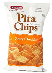 Kangaroo Zesty Cheddar Pita Chips, 2-Ounce (Pack of 24)