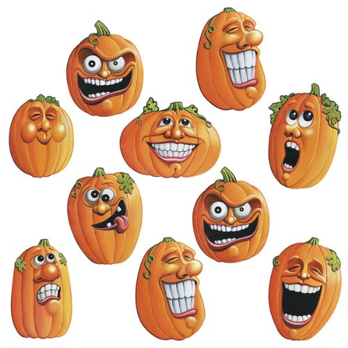 "Halloween Wacky Jack-O-Lantern 4.5"" Cutout Set of 10 - 1"