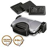 Luxus 4in1 Multi-Tischgrill mit austauschbaren Platten auch für Waffeln + Sandwiches, schwarz-silber