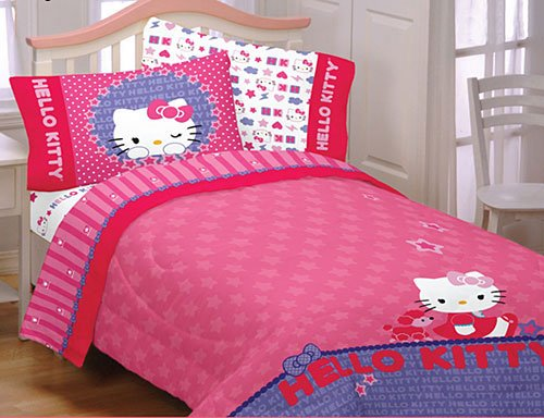 4Pc Hello Kitty Poodle Sanrio Full Bedding Sheet Set