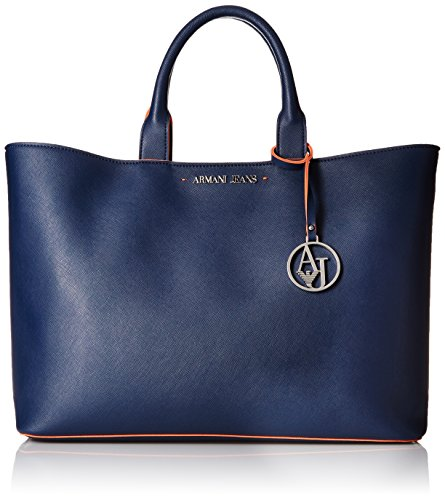 Armani Jeans Eco Saffiano East West Tote with Pouch and Contrast Trim, Blue