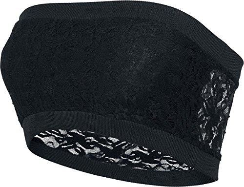 Black Premium by EMP Ladies Long Laces Bandeau Top a fascia donna nero M