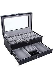 Songmics Leather 12 Mens Watch Box with Jewelry Display Drawer Lockable Watch Case Organizer UJWB012